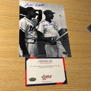 Hank Aaron Ernie banks signed 8x10 photo